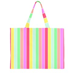 Pastel Rainbow Sorbet Deck Chair Stripes Zipper Large Tote Bag by PodArtist