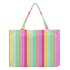 Pastel Rainbow Sorbet Deck Chair Stripes Medium Tote Bag by PodArtist