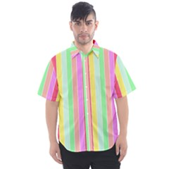 Pastel Rainbow Sorbet Deck Chair Stripes Men s Short Sleeve Shirt