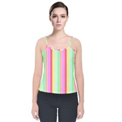 Pastel Rainbow Sorbet Deck Chair Stripes Velvet Spaghetti Strap Top