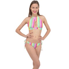 Pastel Rainbow Sorbet Deck Chair Stripes Cross Front Halter Bikini Set