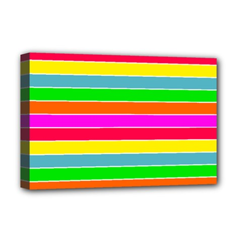 Neon Hawaiian Rainbow Horizontal Deck Chair Stripes Deluxe Canvas 18  X 12  (stretched) by PodArtist
