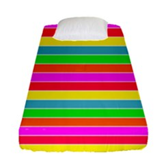 Neon Hawaiian Rainbow Horizontal Deck Chair Stripes Fitted Sheet (single Size) by PodArtist