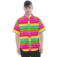 Neon Hawaiian Rainbow Horizontal Deck Chair Stripes Men s Short Sleeve Shirt
