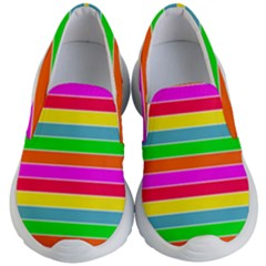 Neon Hawaiian Rainbow Horizontal Deck Chair Stripes Kid s Lightweight Slip Ons