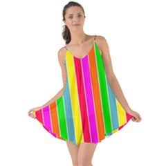 Neon Hawaiian Rainbow Deck Chair Stripes Love The Sun Cover Up