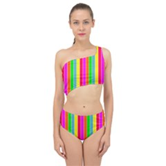 Neon Hawaiian Rainbow Deck Chair Stripes Spliced Up Two Piece Swimsuit