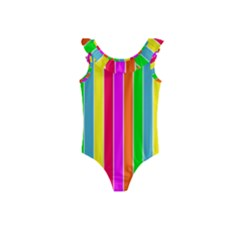 Neon Hawaiian Rainbow Deck Chair Stripes Kids  Frill Swimsuit