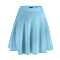 Oktoberfest Bavarian Blue Mini Houndstooth Check High Waist Skirt by PodArtist