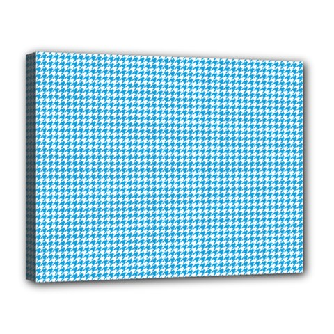 Oktoberfest Bavarian Blue Houndstooth Check Canvas 14  X 11  (stretched) by PodArtist
