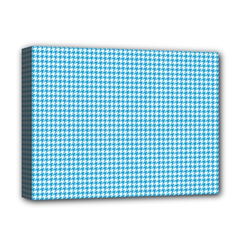 Oktoberfest Bavarian Blue Houndstooth Check Deluxe Canvas 16  X 12  (stretched)  by PodArtist