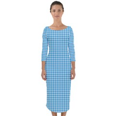 Oktoberfest Bavarian Blue Houndstooth Check Quarter Sleeve Midi Bodycon Dress by PodArtist