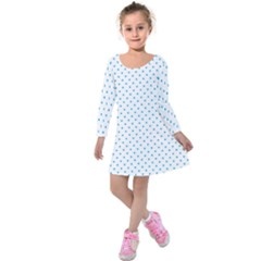 Mini Oktoberfest Bavarian Blue Polkadots On White Kids  Long Sleeve Velvet Dress