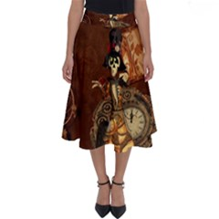 Funny Steampunk Skeleton, Clocks And Gears Perfect Length Midi Skirt