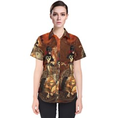 Funny Steampunk Skeleton, Clocks And Gears Women s Short Sleeve Shirt