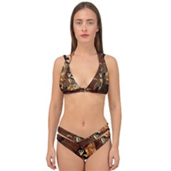 Funny Steampunk Skeleton, Clocks And Gears Double Strap Halter Bikini Set by FantasyWorld7
