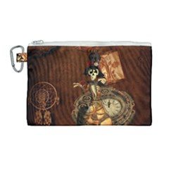 Funny Steampunk Skeleton, Clocks And Gears Canvas Cosmetic Bag (large)