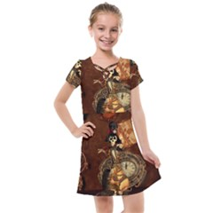Funny Steampunk Skeleton, Clocks And Gears Kids  Cross Web Dress