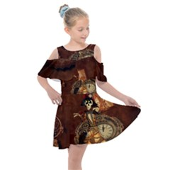 Funny Steampunk Skeleton, Clocks And Gears Kids  Shoulder Cutout Chiffon Dress