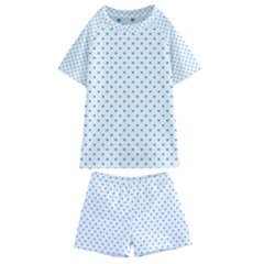 Oktoberfest Bavarian Blue Mini Love Hearts On White Kids  Swim Tee And Shorts Set by PodArtist