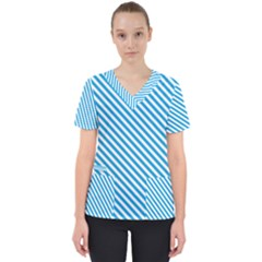 Oktoberfest Bavarian Blue And White Small Candy Cane Stripes Women s V Neck Scrub Top