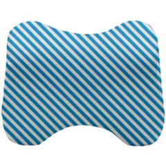 Oktoberfest Bavarian Blue And White Small Candy Cane Stripes Head Support Cushion by PodArtist