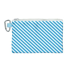 Oktoberfest Bavarian Blue And White Small Candy Cane Stripes Canvas Cosmetic Bag (medium)