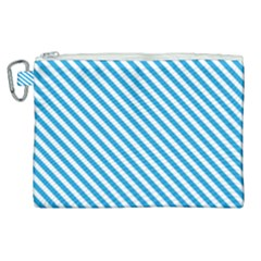 Oktoberfest Bavarian Blue And White Small Candy Cane Stripes Canvas Cosmetic Bag (xl) by PodArtist