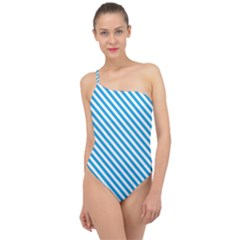 Oktoberfest Bavarian Blue And White Small Candy Cane Stripes Classic One Shoulder Swimsuit