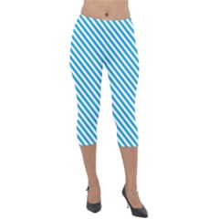 Oktoberfest Bavarian Blue And White Small Candy Cane Stripes Lightweight Velour Capri Leggings