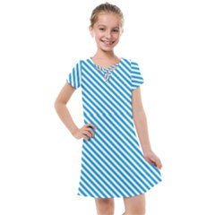 Oktoberfest Bavarian Blue And White Small Candy Cane Stripes Kids  Cross Web Dress