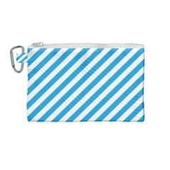 Oktoberfest Bavarian Blue And White Candy Cane Stripes Canvas Cosmetic Bag (medium) by PodArtist