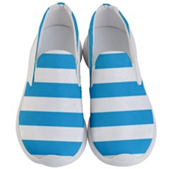 Oktoberfest Bavarian Blue And White Large Cabana Stripes Men s Lightweight Slip Ons by PodArtist