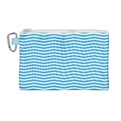 Oktoberfest Bavarian Blue And White Chevron Stripes Canvas Cosmetic Bag (large) by PodArtist