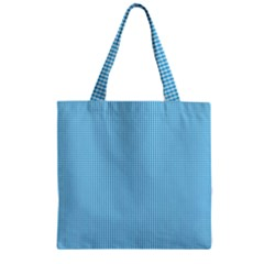 Oktoberfest Bavarian Blue And White Small Gingham Check Zipper Grocery Tote Bag by PodArtist