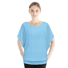 Oktoberfest Bavarian Blue And White Small Gingham Check Blouse