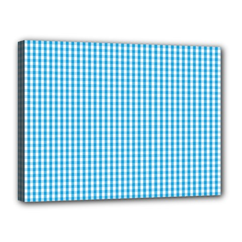 Oktoberfest Bavarian Blue And White Gingham Check Canvas 16  X 12  (stretched) by PodArtist