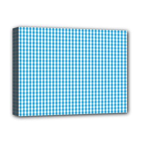Oktoberfest Bavarian Blue And White Gingham Check Deluxe Canvas 16  X 12  (stretched)  by PodArtist