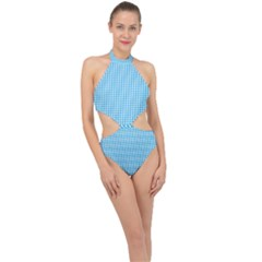 Oktoberfest Bavarian Blue And White Gingham Check Halter Side Cut Swimsuit by PodArtist