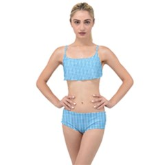 Oktoberfest Bavarian Blue And White Gingham Check Layered Top Bikini Set