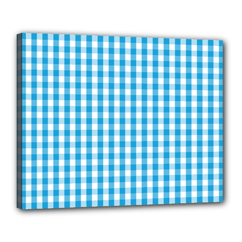 Oktoberfest Bavarian Blue And White Large Gingham Check Canvas 20  X 16  (stretched) by PodArtist