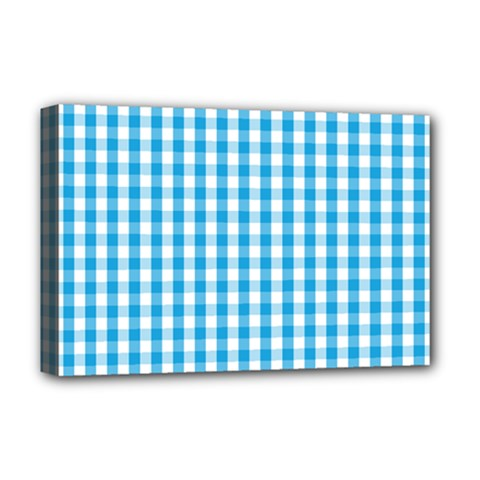 Oktoberfest Bavarian Blue And White Large Gingham Check Deluxe Canvas 18  X 12  (stretched) by PodArtist
