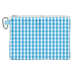 Oktoberfest Bavarian Blue And White Large Gingham Check Canvas Cosmetic Bag (xl) by PodArtist