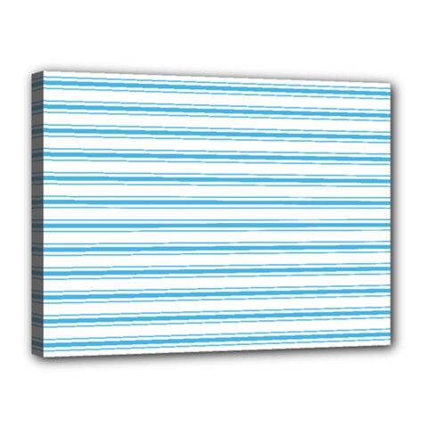 Oktoberfest Bavarian Blue And White Large Mattress Ticking Stripes Canvas 16  X 12  (stretched) by PodArtist