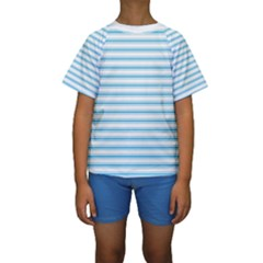 Oktoberfest Bavarian Blue And White Large Mattress Ticking Stripes Kids  Short Sleeve Swimwear by PodArtist