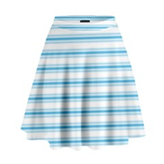 Oktoberfest Bavarian Blue And White Large Mattress Ticking Stripes High Waist Skirt