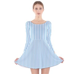 Oktoberfest Bavarian Blue And White Mattress Ticking Long Sleeve Velvet Skater Dress
