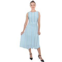 Oktoberfest Bavarian Blue And White Mattress Ticking Midi Tie Back Chiffon Dress