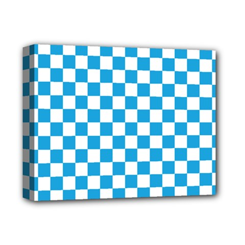 Oktoberfest Bavarian Large Blue And White Checkerboard Deluxe Canvas 14  X 11  (stretched) by PodArtist