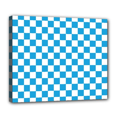 Oktoberfest Bavarian Large Blue And White Checkerboard Deluxe Canvas 24  X 20  (stretched) by PodArtist